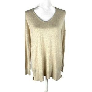 LOFT Beige Pullover Sweater V Neck Comfy Sz M NEW